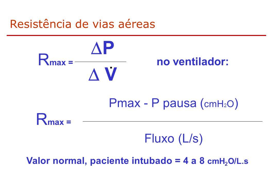 Resistência de vias aéreas R max = no ventilador: P V. R max = Pmax - P pausa ( cmH 2 O ) Fluxo (L/s) Valor normal, paciente intubado = 4 a 8 cmH 2 O/