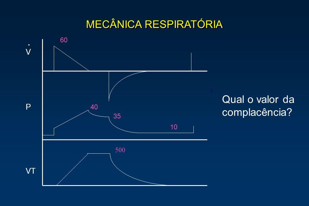 MECÂNICA RESPIRATÓRIA V P VT. 40 35 500 60 10 Qual o valor da complacência?