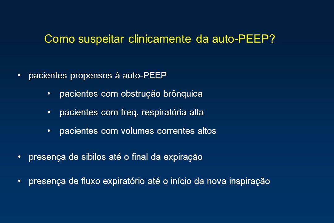 Como suspeitar clinicamente da auto-PEEP? pacientes propensos à auto-PEEP pacientes com obstrução brônquica pacientes com freq. respiratória alta paci
