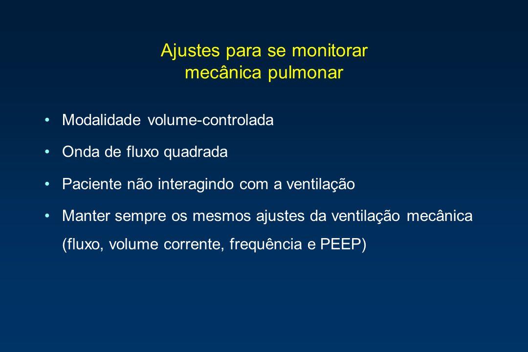 Ajustes para se monitorar mecânica pulmonar Modalidade volume-controlada Onda de fluxo quadrada Paciente não interagindo com a ventilação Manter sempr