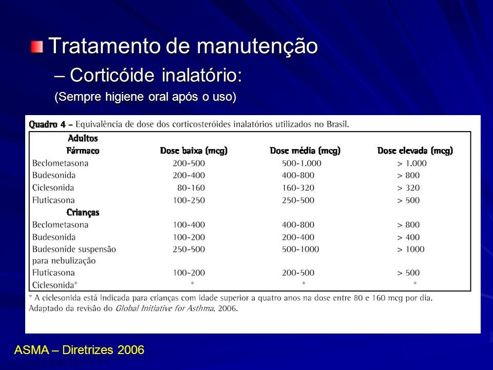 Tratamento de manutenção –Corticóide inalatório: (Sempre higiene oral após o uso) ASMA – Diretrizes 2006