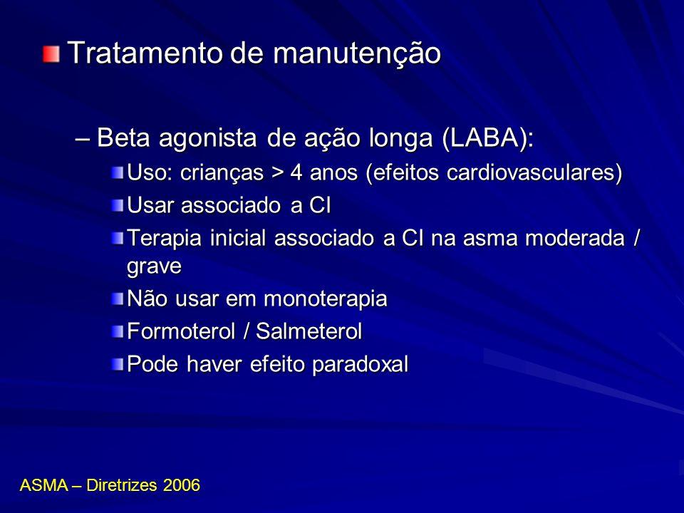 Tratamento de manutenção –Beta agonista de ação longa (LABA): Uso: crianças > 4 anos (efeitos cardiovasculares) Usar associado a CI Terapia inicial as