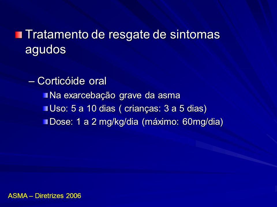 Tratamento de resgate de sintomas agudos –Corticóide oral Na exarcebação grave da asma Uso: 5 a 10 dias ( crianças: 3 a 5 dias) Dose: 1 a 2 mg/kg/dia