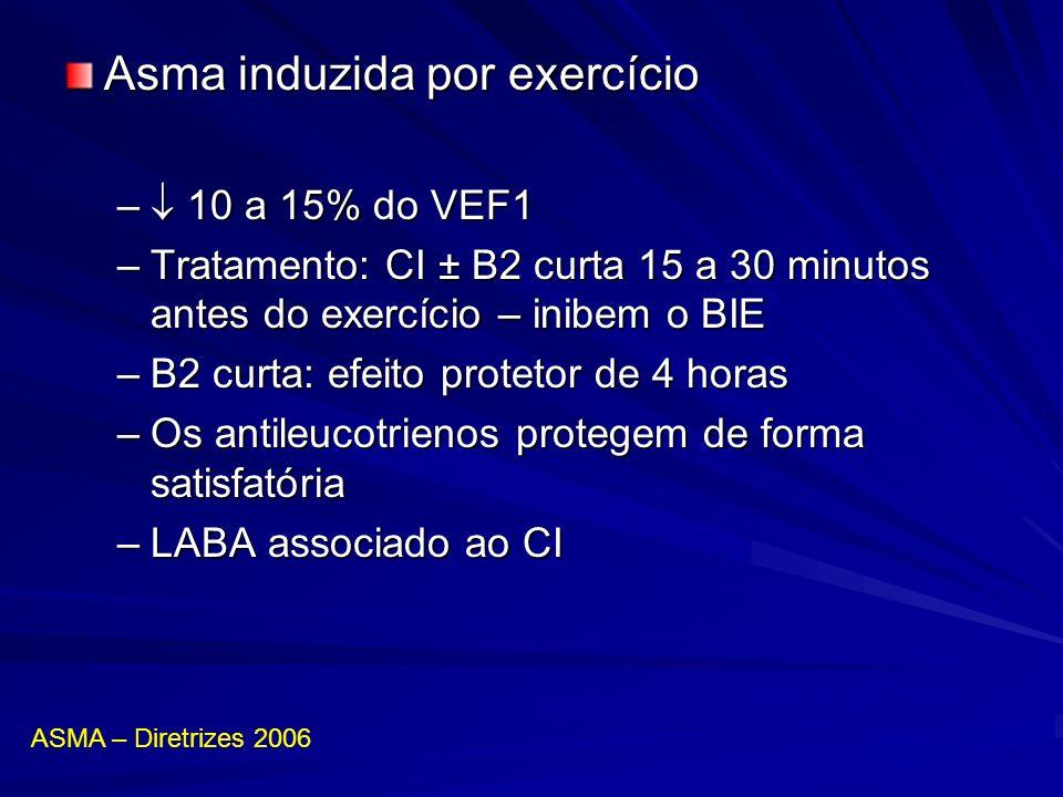 Asma induzida por exercício – 10 a 15% do VEF1 –Tratamento: CI ± B2 curta 15 a 30 minutos antes do exercício – inibem o BIE –B2 curta: efeito protetor