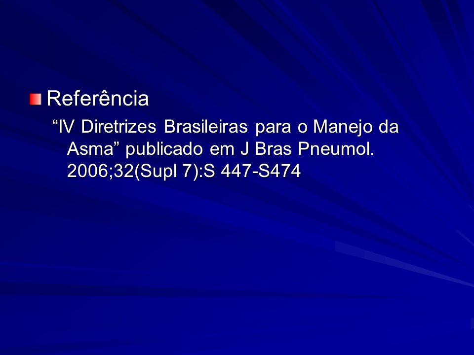 Referência IV Diretrizes Brasileiras para o Manejo da Asma publicado em J Bras Pneumol. 2006;32(Supl 7):S 447-S474