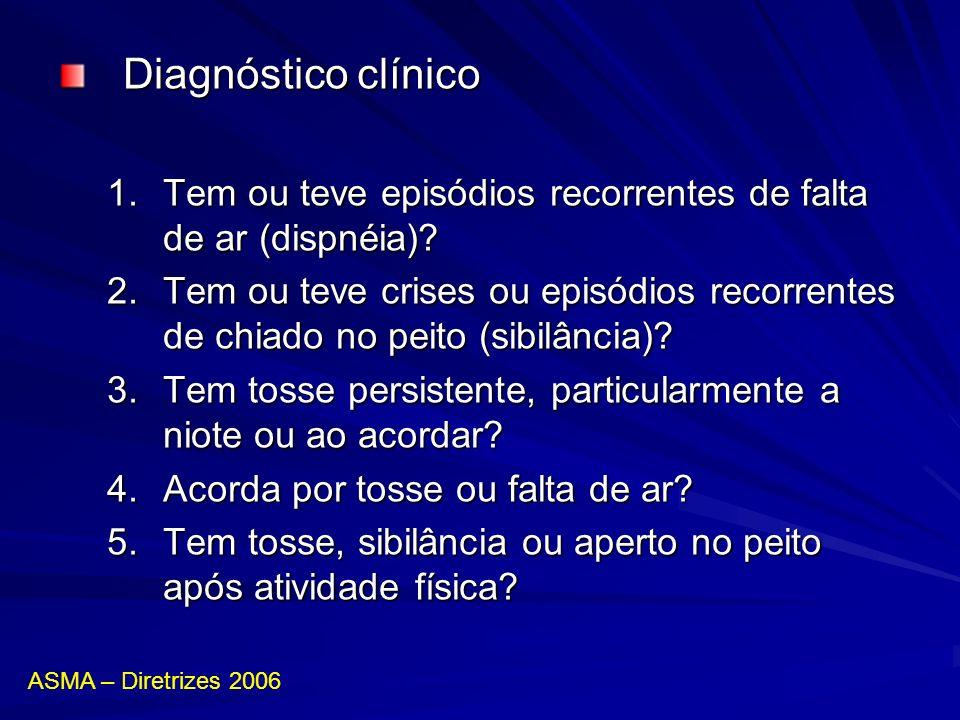 Diagnóstico clínico 1.Tem ou teve episódios recorrentes de falta de ar (dispnéia)? 2.Tem ou teve crises ou episódios recorrentes de chiado no peito (s