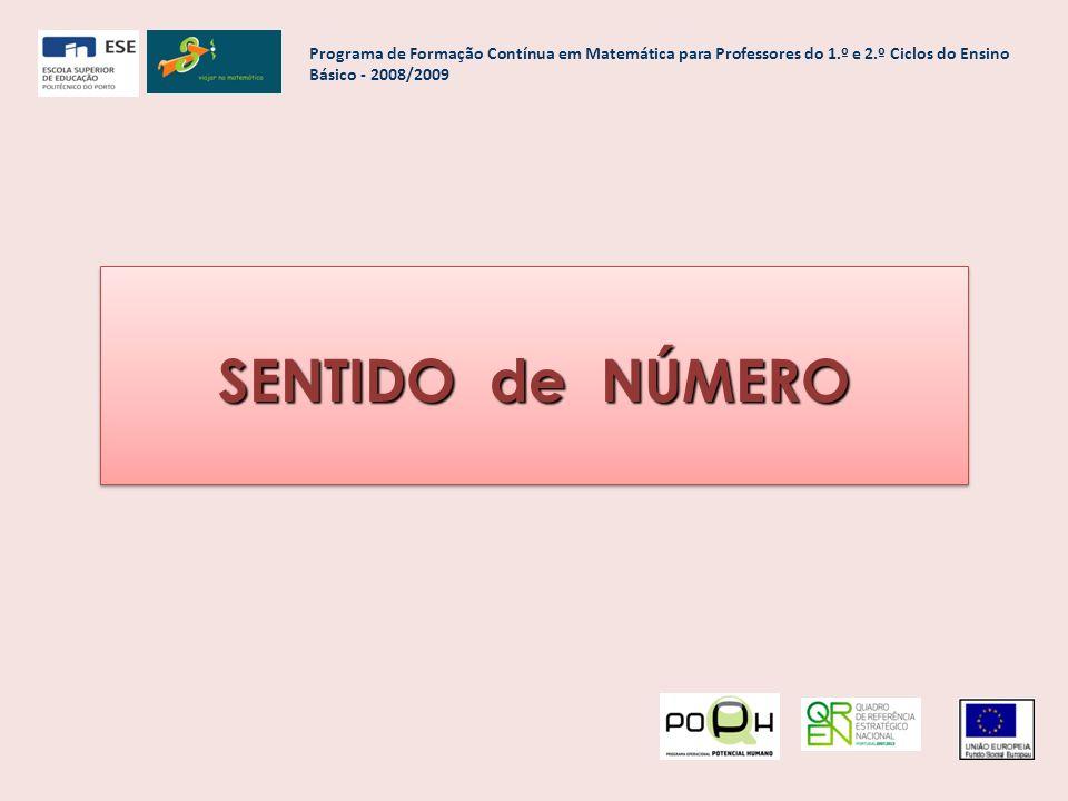 SENTIDO de NÚMERO Programa de Formação Contínua em Matemática para Professores do 1.º e 2.º Ciclos do Ensino Básico - 2008/2009