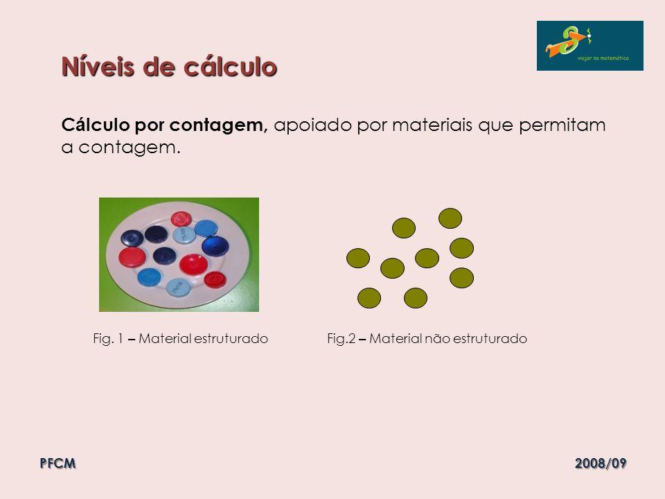 C á lculo por contagem, apoiado por materiais que permitam a contagem. Fig. 1 – Material estruturado Fig.2 – Material não estruturado Níveis de cálcul