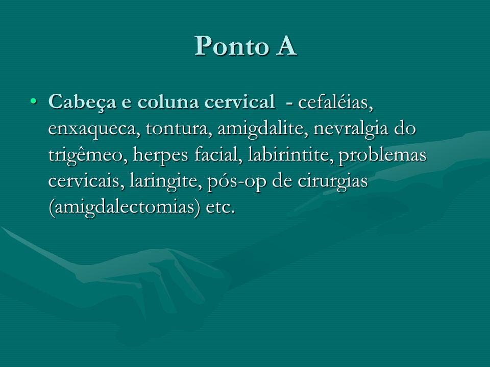 Ponto A Cabeça e coluna cervical - cefaléias, enxaqueca, tontura, amigdalite, nevralgia do trigêmeo, herpes facial, labirintite, problemas cervicais,