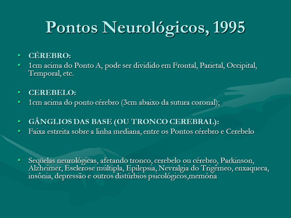 Pontos Neurológicos, 1995 CÉREBRO:CÉREBRO: 1cm acima do Ponto A, pode ser dividido em Frontal, Parietal, Occipital, Temporal, etc.1cm acima do Ponto A