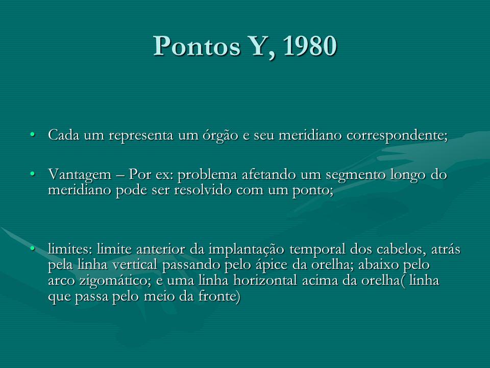 Pontos Y, 1980 Cada um representa um órgão e seu meridiano correspondente;Cada um representa um órgão e seu meridiano correspondente; Vantagem – Por e