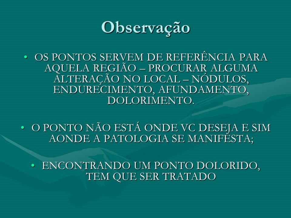 Observação OS PONTOS SERVEM DE REFERÊNCIA PARA AQUELA REGIÃO – PROCURAR ALGUMA ALTERAÇÃO NO LOCAL – NÓDULOS, ENDURECIMENTO, AFUNDAMENTO, DOLORIMENTO.O