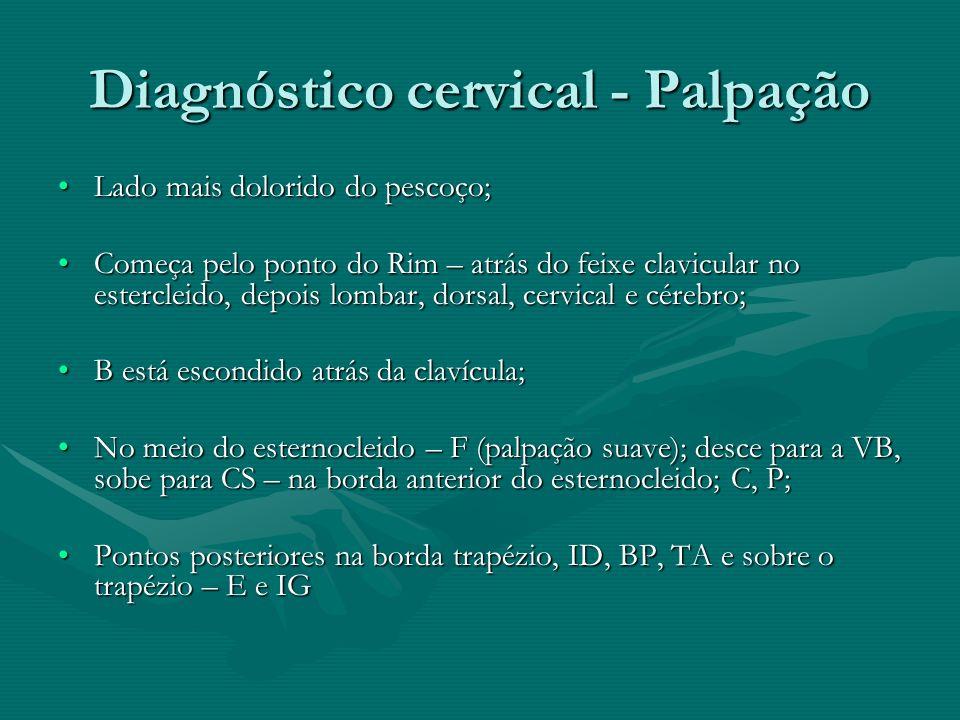 Diagnóstico cervical - Palpação Lado mais dolorido do pescoço;Lado mais dolorido do pescoço; Começa pelo ponto do Rim – atrás do feixe clavicular no e