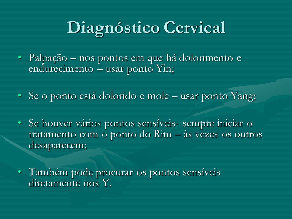 Diagnóstico Cervical Palpação – nos pontos em que há dolorimento e endurecimento – usar ponto Yin;Palpação – nos pontos em que há dolorimento e endure