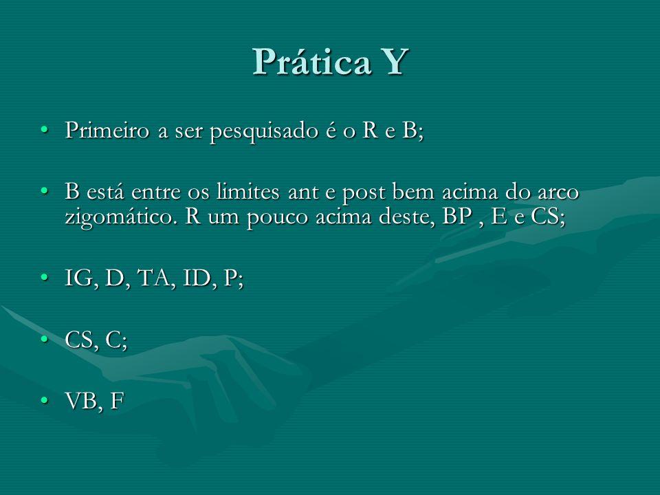 Prática Y Primeiro a ser pesquisado é o R e B;Primeiro a ser pesquisado é o R e B; B está entre os limites ant e post bem acima do arco zigomático. R