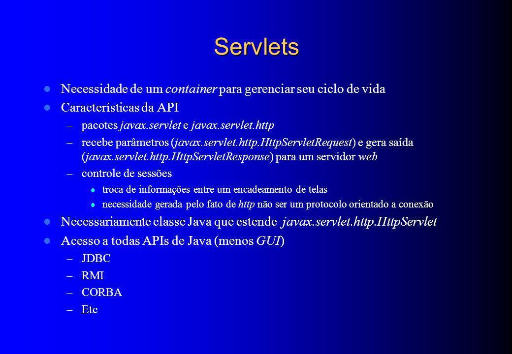 Servlets Necessidade de um container para gerenciar seu ciclo de vida Características da API – pacotes javax.servlet e javax.servlet.http – recebe par