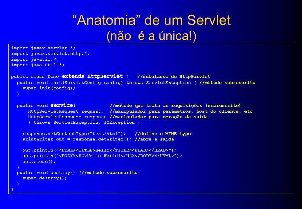 Anatomia de um Servlet (não é a única!) import javax.servlet.*; import javax.servlet.http.*; import java.io.*; import java.util.*; public class Demo e