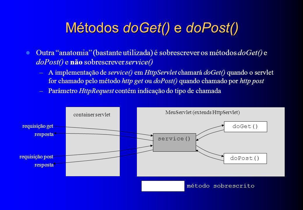Métodos doGet() e doPost() Outra anatomia (bastante utilizada) é sobrescrever os métodos doGet() e doPost() e não sobrescrever service() – A implement
