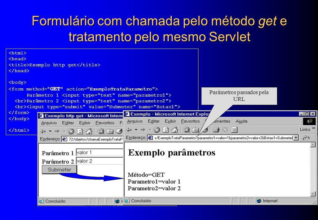 Formulário com chamada pelo método get e tratamento pelo mesmo Servlet Exemplo http get Parâmetro 1 Parâmetro 2 Parâmetros passados pela URL