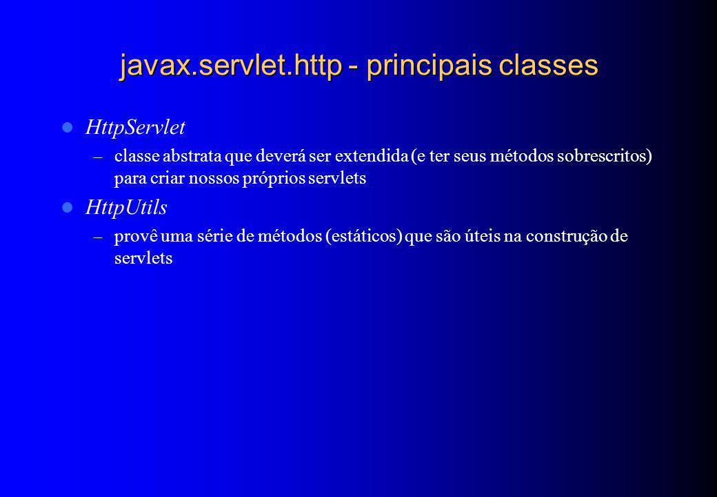 javax.servlet.http - principais classes HttpServlet – classe abstrata que deverá ser extendida (e ter seus métodos sobrescritos) para criar nossos pró