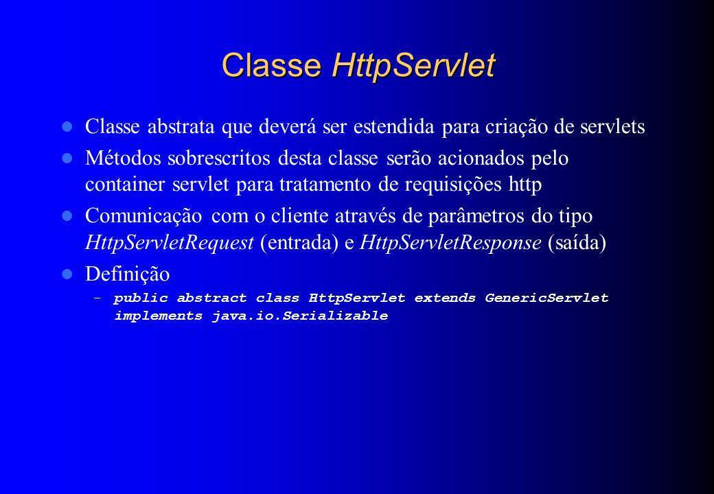 Classe HttpServlet Classe abstrata que deverá ser estendida para criação de servlets Métodos sobrescritos desta classe serão acionados pelo container