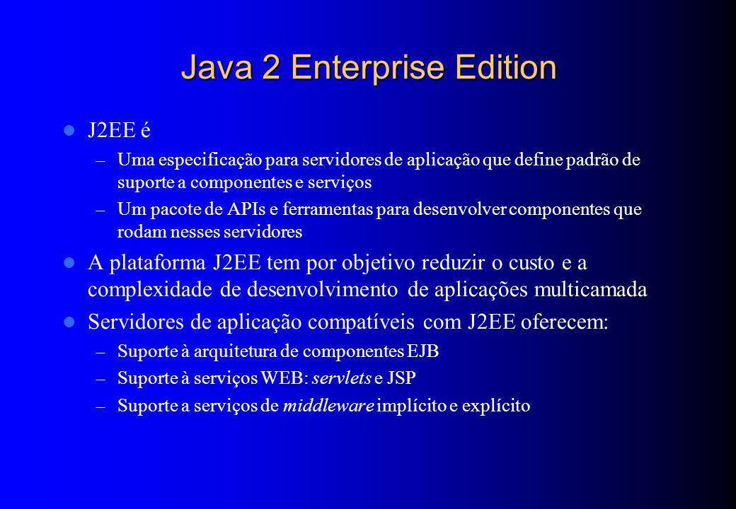 Java 2 Enterprise Edition J2EE é – Uma especificação para servidores de aplicação que define padrão de suporte a componentes e serviços – Um pacote de