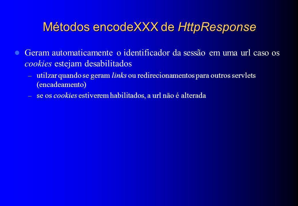 Métodos encodeXXX de HttpResponse Geram automaticamente o identificador da sessão em uma url caso os cookies estejam desabilitados – utilzar quando se
