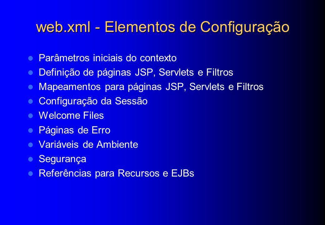web.xml - Elementos de Configuração Parâmetros iniciais do contexto Definição de páginas JSP, Servlets e Filtros Mapeamentos para páginas JSP, Servlet