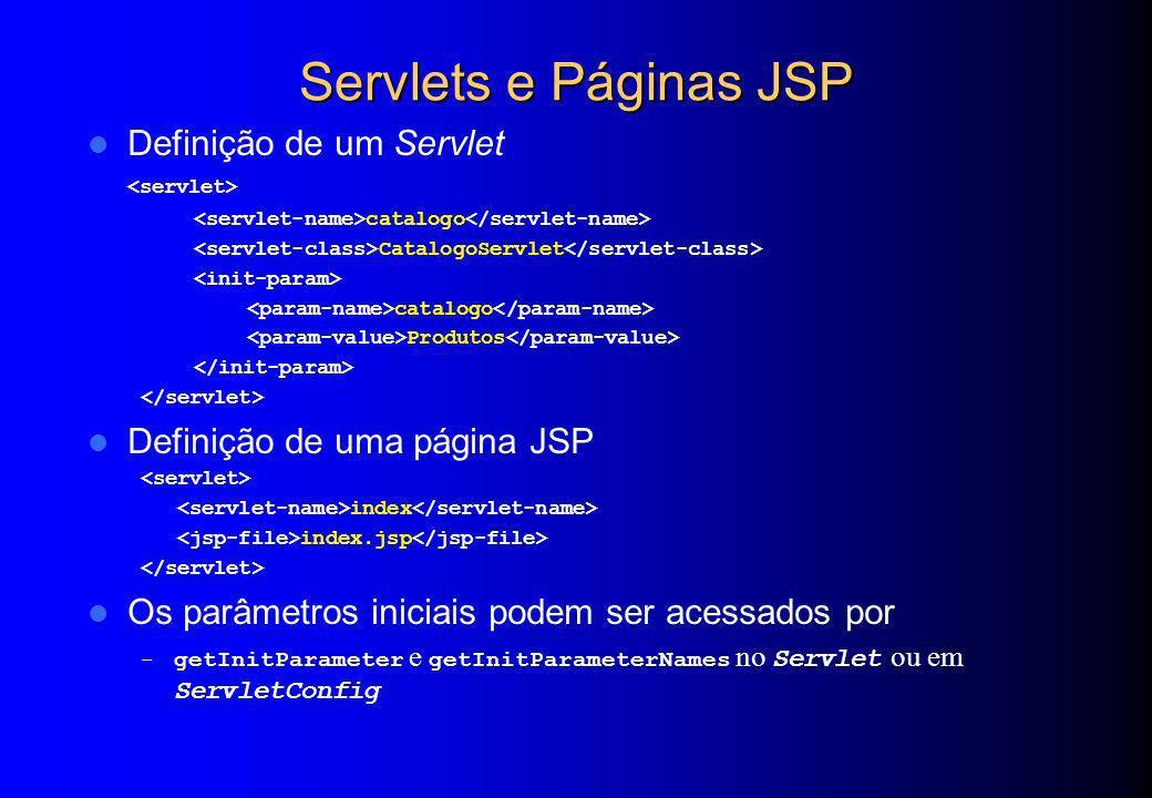 Servlets e Páginas JSP Definição de um Servlet catalogo CatalogoServlet catalogo Produtos Definição de uma página JSP index index.jsp Os parâmetros in