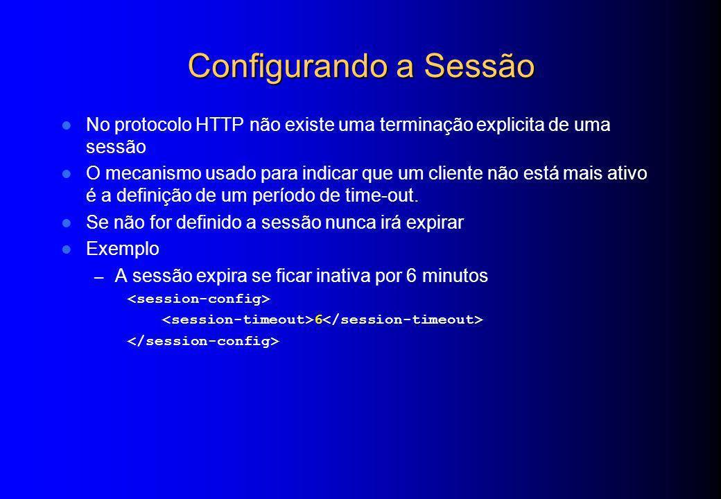 Configurando a Sessão No protocolo HTTP não existe uma terminação explicita de uma sessão O mecanismo usado para indicar que um cliente não está mais