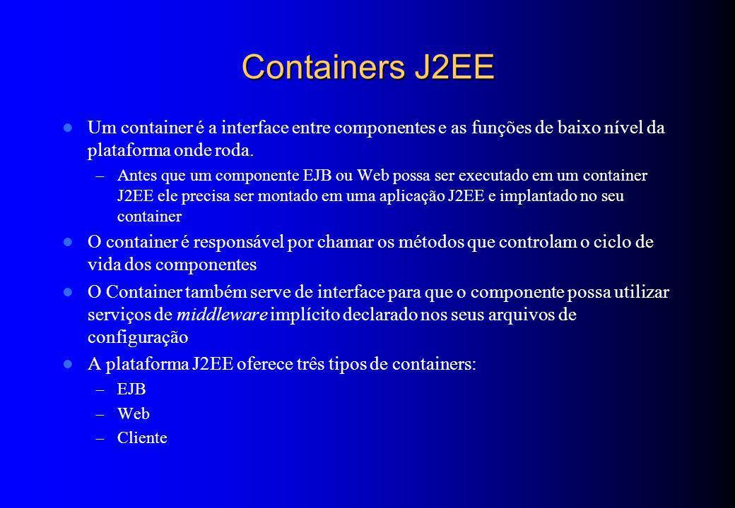 Aplicações WEB Composta de: – Servlets – Páginas JSP – Classes utilitárias – Documentos estáticos (html, imagens, sons, etc) – Descritores de implantação (deployment descriptors) Pode ser empacotada em um arquivo WAR (Web Application Archive) – Arquivo ZIP com a extensão.war – Padrão portável entre os vários servidores de aplicação J2EE A aplicação Web é implantada em um caminho específico no servidor chamado Contexto – Ex: http://www.minhaempresa.com.br/contexto