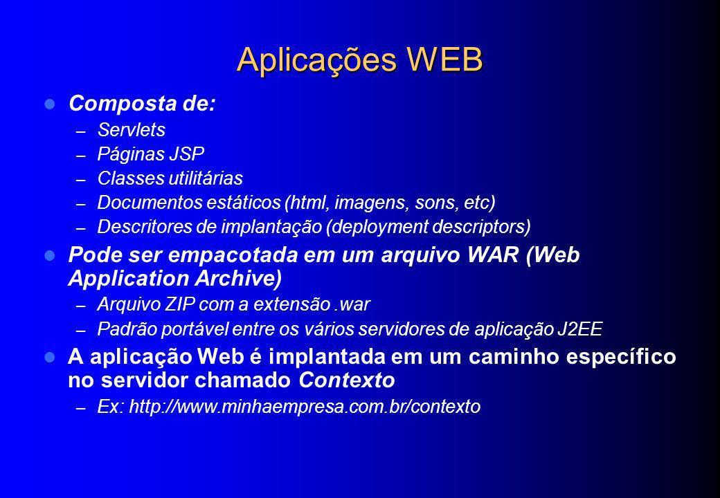 Aplicações WEB Composta de: – Servlets – Páginas JSP – Classes utilitárias – Documentos estáticos (html, imagens, sons, etc) – Descritores de implanta