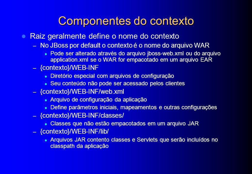 Componentes do contexto Raiz geralmente define o nome do contexto – No JBoss por default o contexto é o nome do arquivo WAR Pode ser alterado através