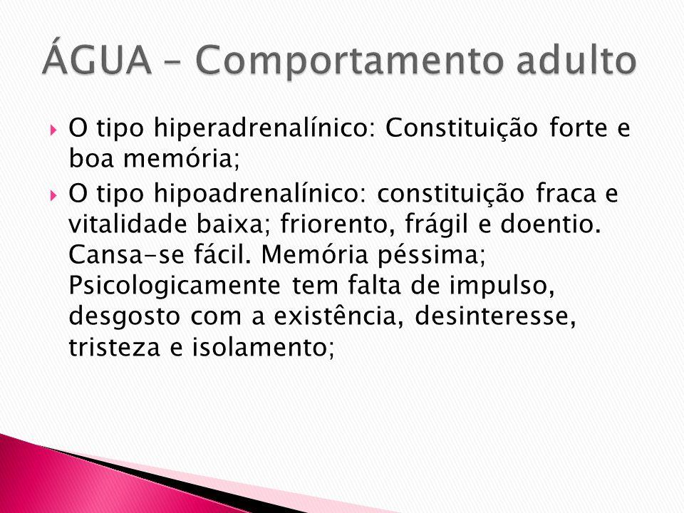 O tipo hiperadrenalínico: Constituição forte e boa memória; O tipo hipoadrenalínico: constituição fraca e vitalidade baixa; friorento, frágil e doenti