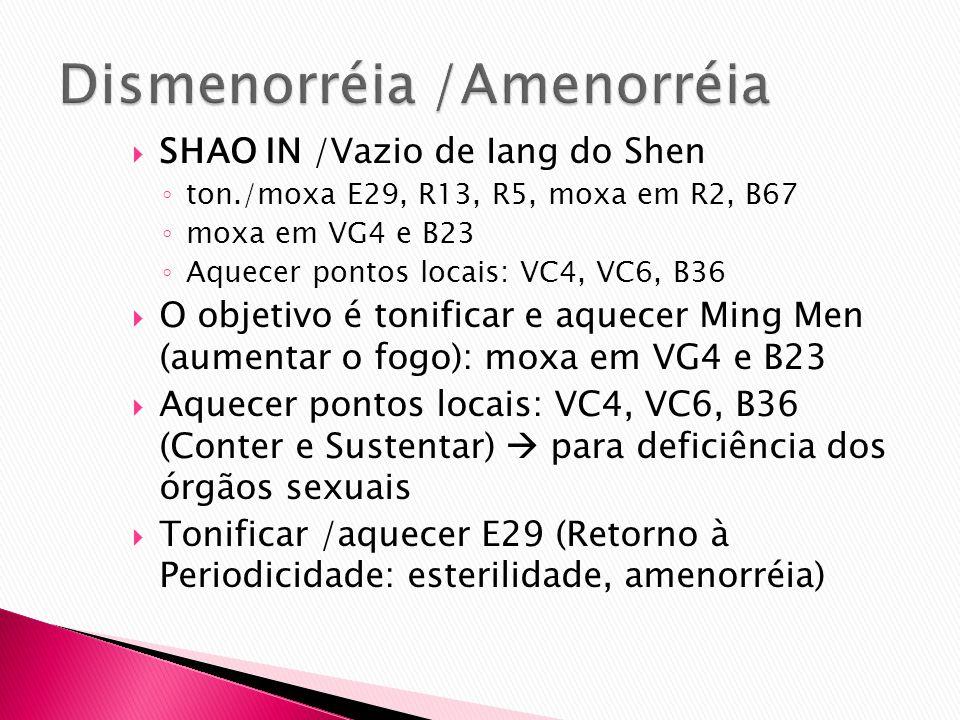 SHAO IN /Vazio de Iang do Shen ton./moxa E29, R13, R5, moxa em R2, B67 moxa em VG4 e B23 Aquecer pontos locais: VC4, VC6, B36 O objetivo é tonificar e