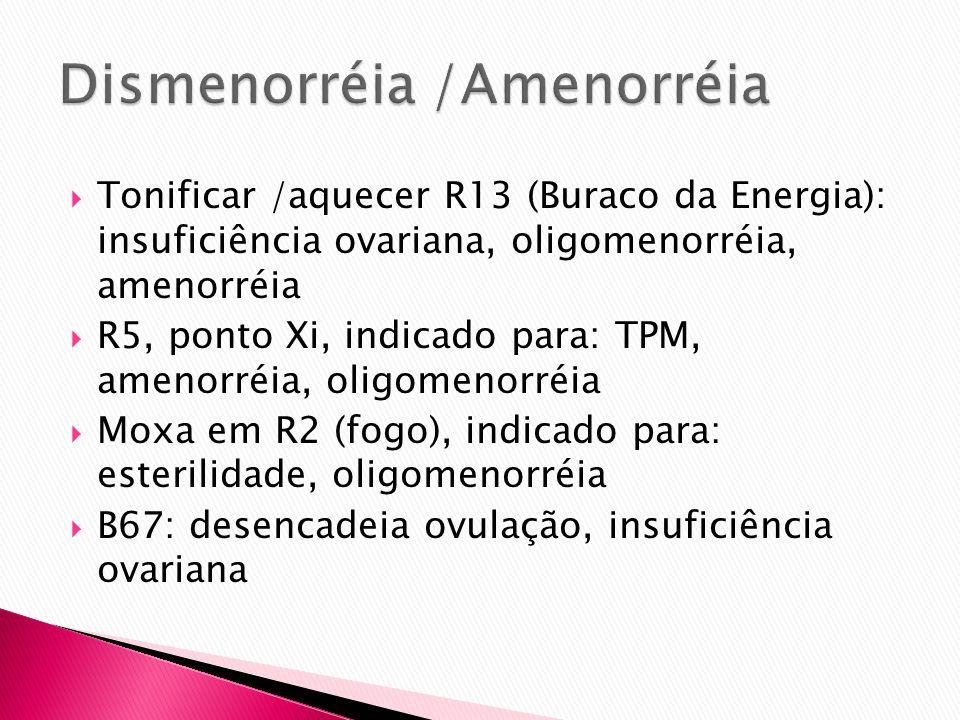 Tonificar /aquecer R13 (Buraco da Energia): insuficiência ovariana, oligomenorréia, amenorréia R5, ponto Xi, indicado para: TPM, amenorréia, oligomeno