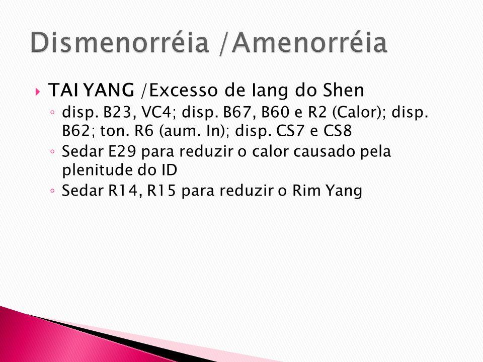 TAI YANG /Excesso de Iang do Shen disp. B23, VC4; disp. B67, B60 e R2 (Calor); disp. B62; ton. R6 (aum. In); disp. CS7 e CS8 Sedar E29 para reduzir o