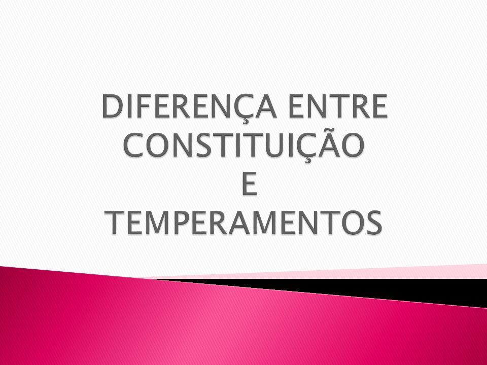 A Constituição é estática – representa a Hereditariedadeo que é O Temperamento é dinâmico – resulta da interação entre a Constituição e o meioo que se torna