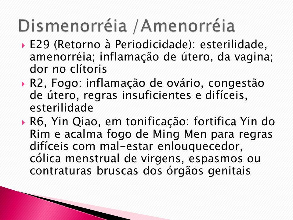 E29 (Retorno à Periodicidade): esterilidade, amenorréia; inflamação de útero, da vagina; dor no clítoris R2, Fogo: inflamação de ovário, congestão de