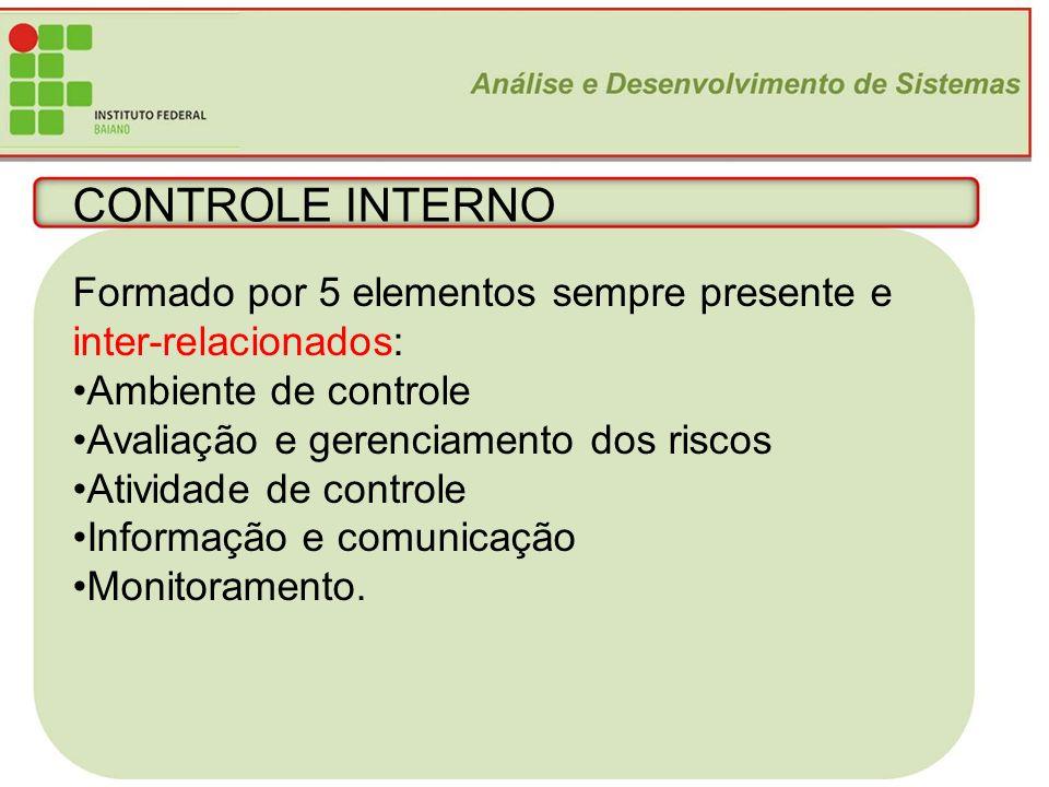 11 CONTROLE INTERNO Formado por 5 elementos sempre presente e inter-relacionados: Ambiente de controle Avaliação e gerenciamento dos riscos Atividade