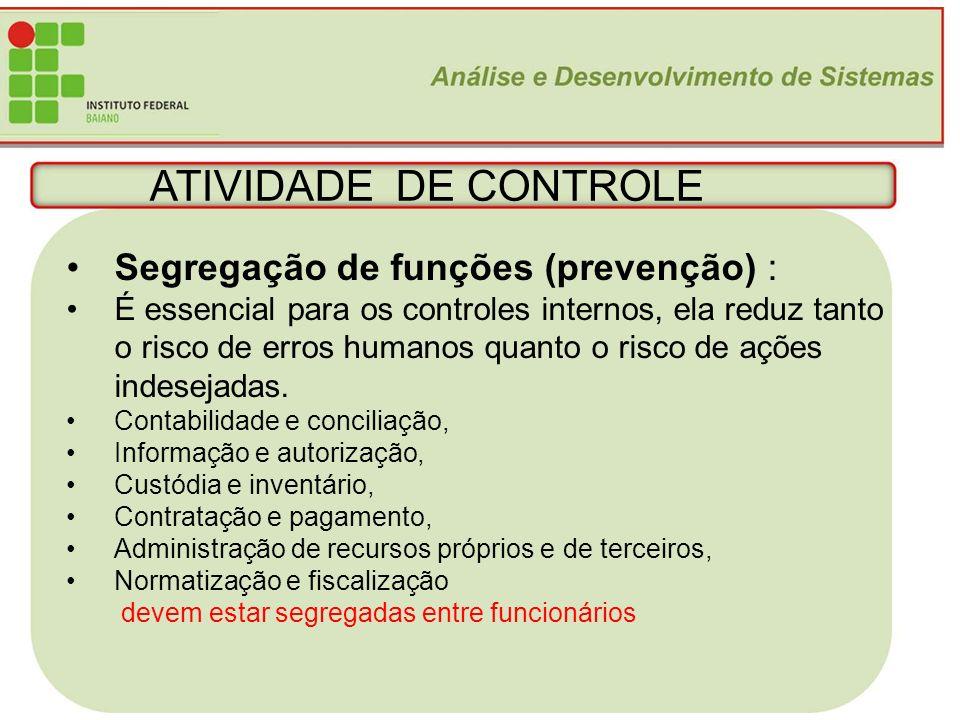 20 ATIVIDADE DE CONTROLE Segregação de funções (prevenção) : É essencial para os controles internos, ela reduz tanto o risco de erros humanos quanto o
