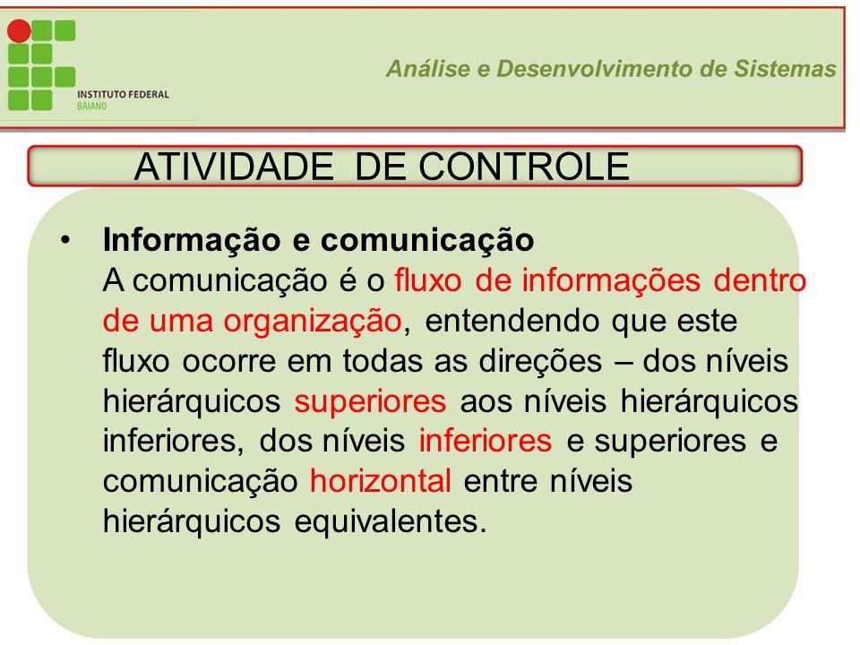 23 ATIVIDADE DE CONTROLE Informação e comunicação A comunicação é o fluxo de informações dentro de uma organização, entendendo que este fluxo ocorre e