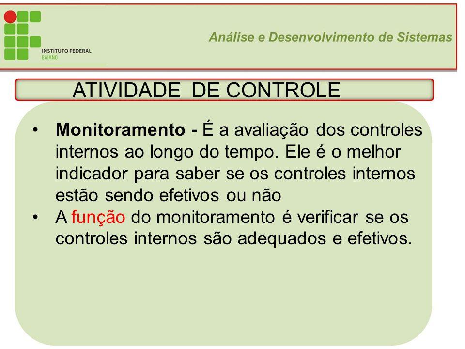 24 ATIVIDADE DE CONTROLE Monitoramento - É a avaliação dos controles internos ao longo do tempo. Ele é o melhor indicador para saber se os controles i