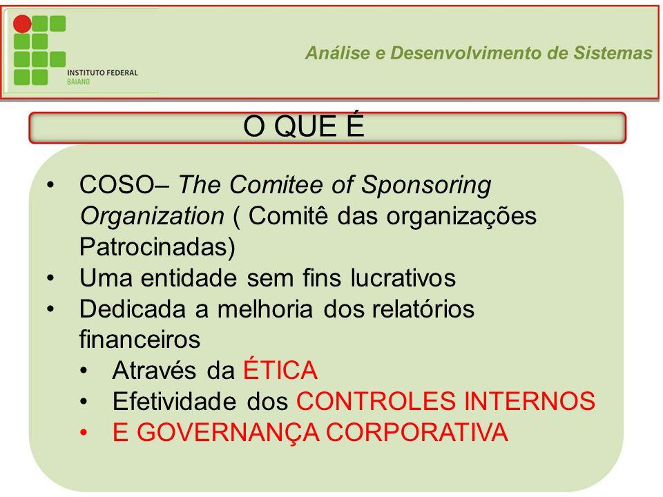 4 O QUE É COSO– The Comitee of Sponsoring Organization ( Comitê das organizações Patrocinadas) Uma entidade sem fins lucrativos Dedicada a melhoria do