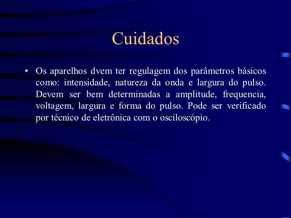 Cuidados Os aparelhos dvem ter regulagem dos parâmetros básicos como: intensidade, natureza da onda e largura do pulso. Devem ser bem determinadas a a