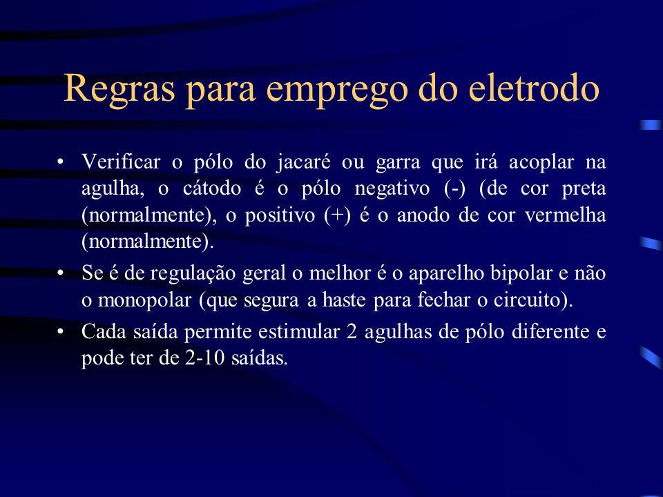 Regras para emprego do eletrodo Verificar o pólo do jacaré ou garra que irá acoplar na agulha, o cátodo é o pólo negativo (-) (de cor preta (normalmen