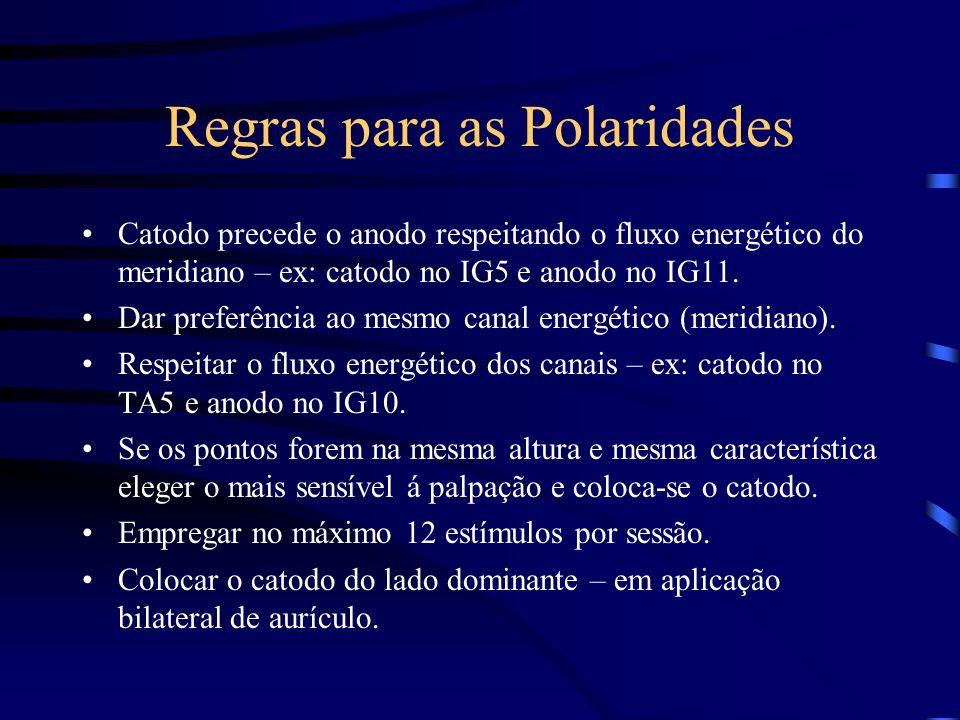 Regras para as Polaridades Catodo precede o anodo respeitando o fluxo energético do meridiano – ex: catodo no IG5 e anodo no IG11. Dar preferência ao