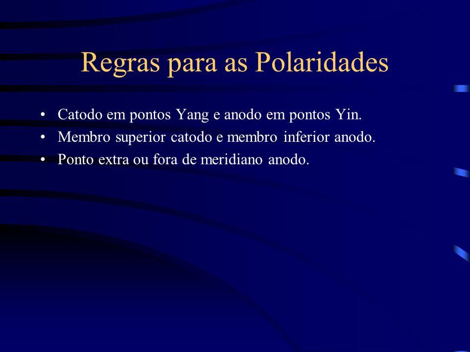 Regras para as Polaridades Catodo em pontos Yang e anodo em pontos Yin. Membro superior catodo e membro inferior anodo. Ponto extra ou fora de meridia