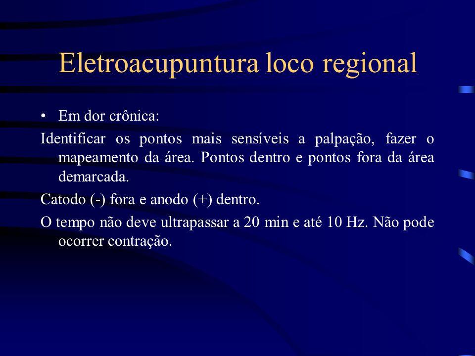 Eletroacupuntura loco regional Em dor crônica: Identificar os pontos mais sensíveis a palpação, fazer o mapeamento da área. Pontos dentro e pontos for