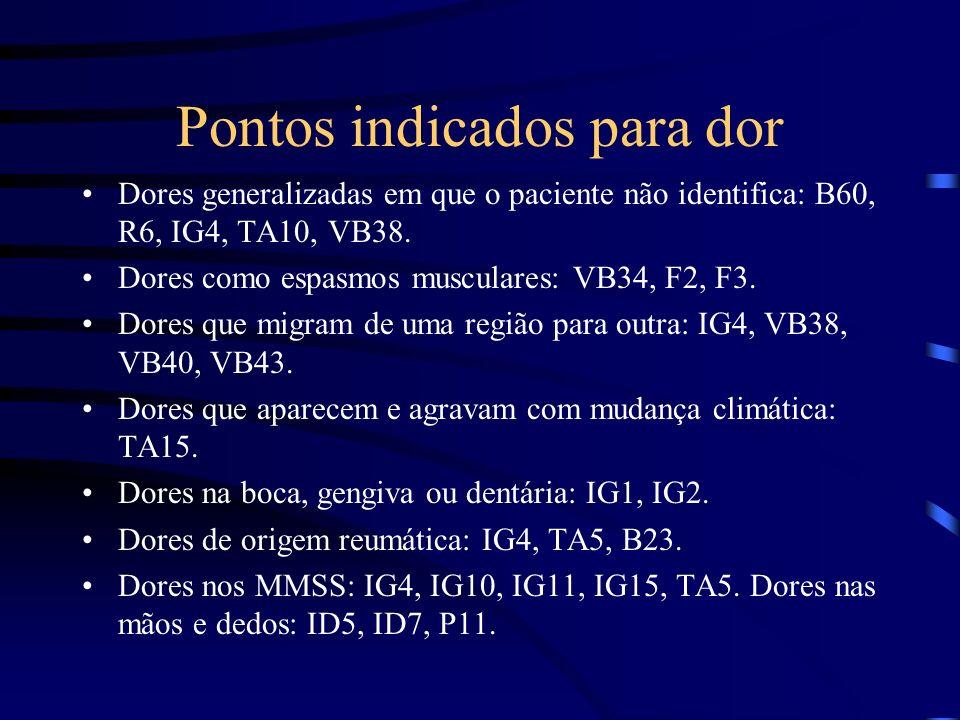 Pontos indicados para dor Dores generalizadas em que o paciente não identifica: B60, R6, IG4, TA10, VB38. Dores como espasmos musculares: VB34, F2, F3